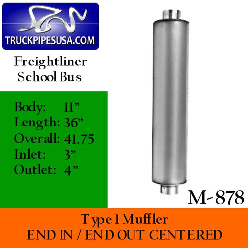 """M-878 Type 1 Muffler for Freightliner 11"""" Round x 36"""" 3"""" IN 4"""" OUT"""