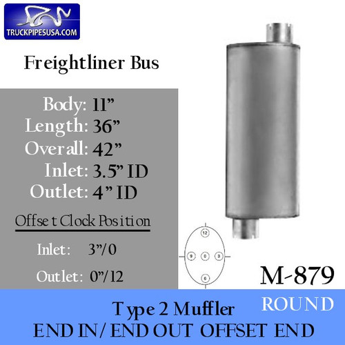"""M-879 Type 2 Muffler for Freightliner Bus 11"""" Round x 36"""" Long"""