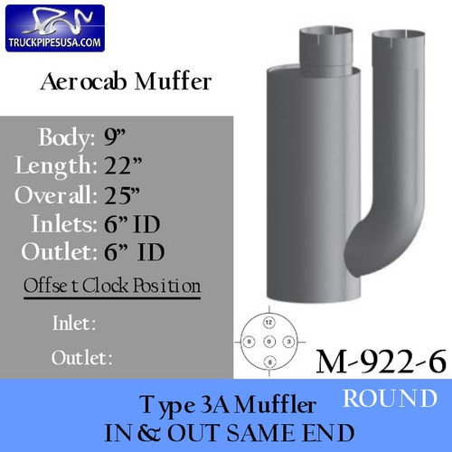 """M-922-6 Type 3A Muffler 9"""" x 22"""" 6"""" INLET 6"""" OUTLET"""