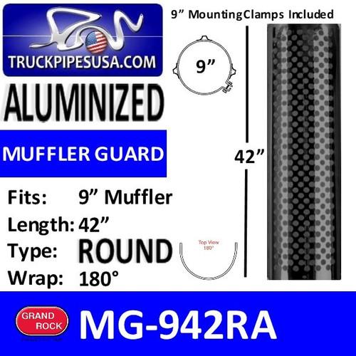 "MG-942RA 9"" x 42"" Muffler Guard Round Hole Aluminum"