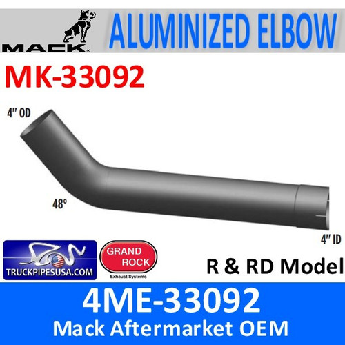 4ME-33092 Mack 48 Degree Elbow Exhaust Part MK-33092