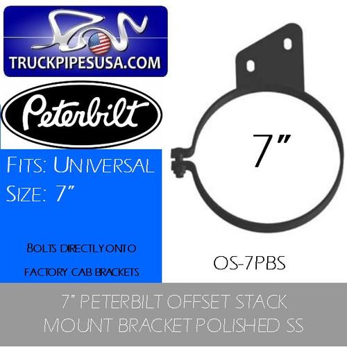 "7"" Peterbilt Offset Stack Mount Bracket Polished SS OS-7PBS"