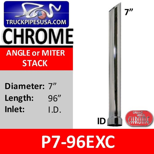"7"" x 96"" Miter or Angle Cut Stack ID Chrome Exhaust Tip P7-96EXC"