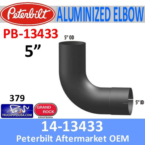 14-13433 Peterbilt 379 Exhaust 90 Degree Aluminized Elbow PB-13433