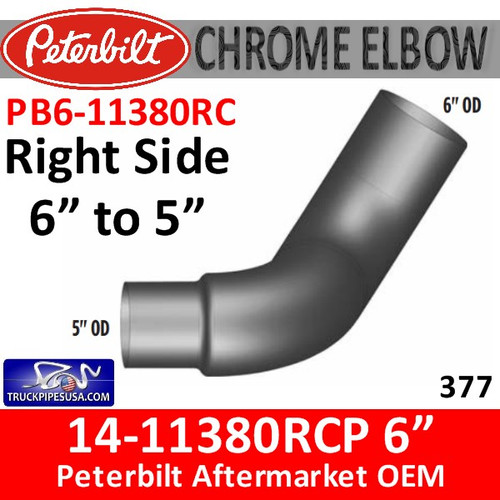 """14-11380RCP 6"""" to 5"""" Right Side Peterbilt 377 Chrome Elbow PB6-11380RC"""