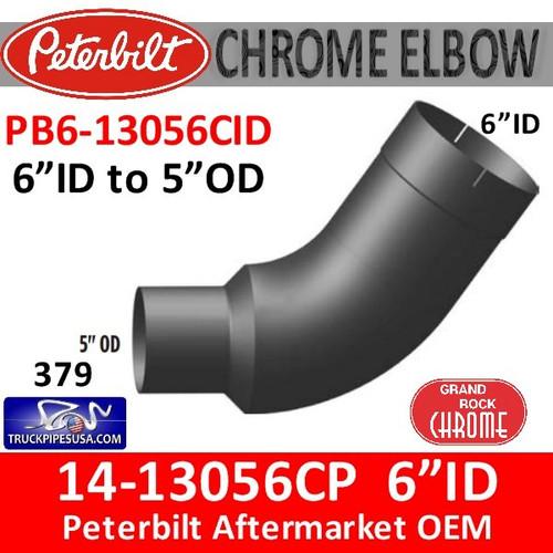 "14-13056 6"" ID to 5"" OD Peterbilt 379 Chrome Elbow PB6-13056CID"