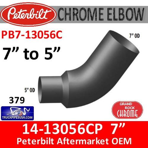 "14-13056 7"" OD to 5"" OD Peterbilt 379 Chrome Elbow PB7-13056C"
