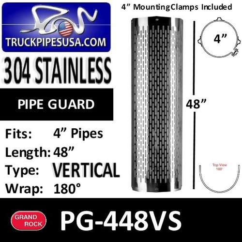 """4"""" x 48"""" Heat Shield Vertical Slots Polished SS with 2 brackets PG-448VS"""