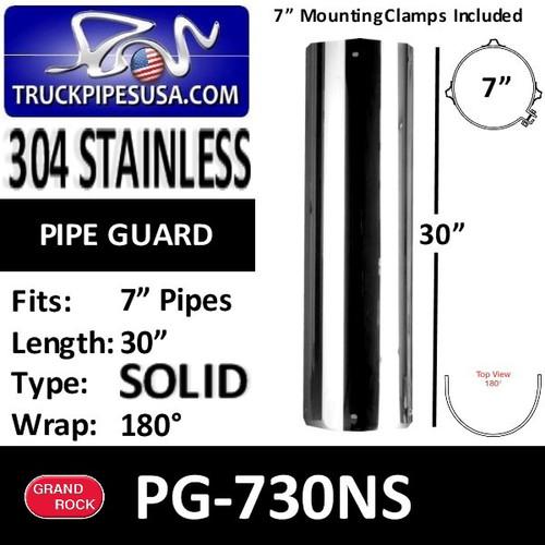 "7"" x 30"" Heat Shield No Slot Polished SS with 2 Brackets PG-730NS"
