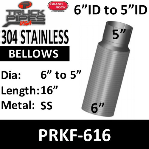 "6"" x 16"" Peterbilt Retro Stainless Steel Flex 6"" to 5"" PRKF-616"