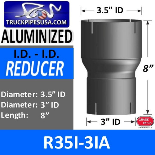 "R35I-3IA 3.5"" ID to 3"" ID Exhaust Reducer Aluminized Pipe"