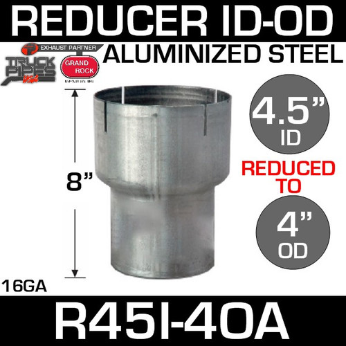 "4.5"" ID to 4"" OD Exhaust Reducer Aluminized Pipe R45I-4OA"