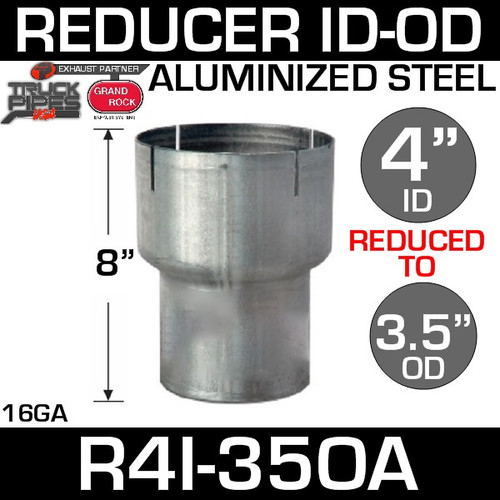 "4"" ID to 3.5"" OD Exhaust Reducer Aluminized Pipe R4I-35OA"