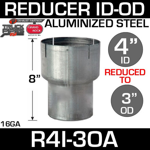 "4"" ID to 3"" OD Exhaust Reducer Aluminized Pipe R4I-3OA"