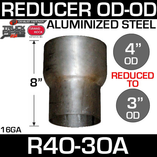 "R4O-3OA 4"" OD to 3"" OD Exhaust Reducer Aluminized Pipe"