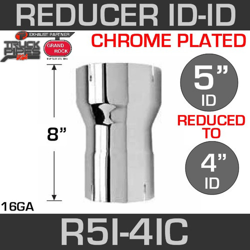 "5"" ID to 4"" ID Exhaust Reducer Chrome"