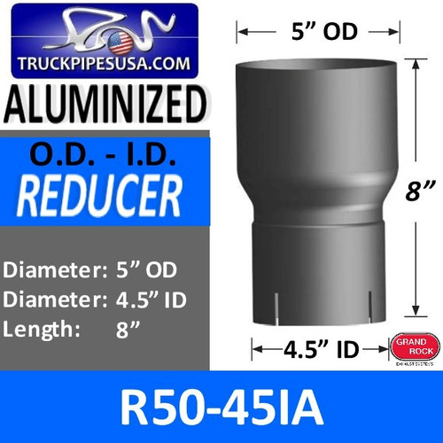 "5"" OD to 4.5"" ID Exhaust Reducer Aluminized Pipe R5O-45IA"