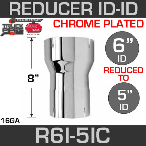 "6"" ID to 5"" ID Exhaust Reducer Chrome"