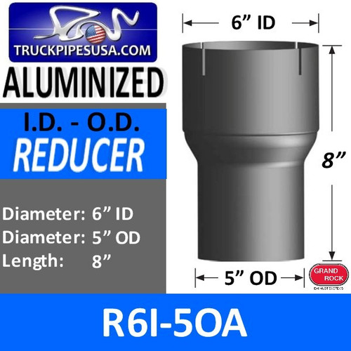 "6"" ID to 5"" OD Exhaust Reducer Aluminized Pipe R6I-5OA"