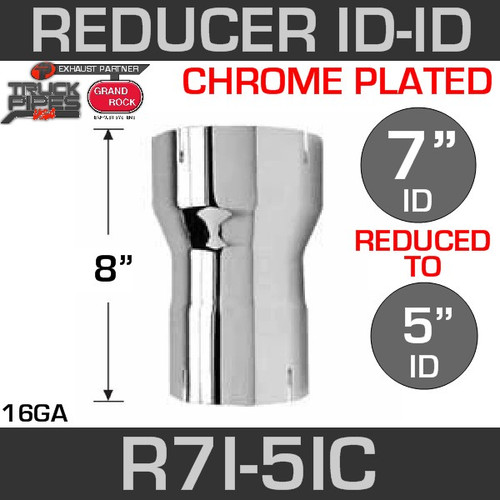 "7"" ID to 5"" ID Exhaust Reducer Chrome"