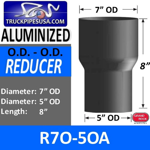 "R7O-5OA 7"" OD to 5"" OD Exhaust Reducer Aluminized Pipe"