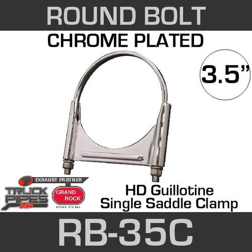 3.5'' Chrome Round Bolt Single Saddle Exhaust Clamp RB-35C