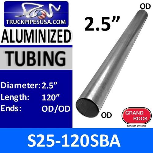 "S25-120SBA 2.5"" x 120"" Straight Cut Aluminized Exhaust Tubing"