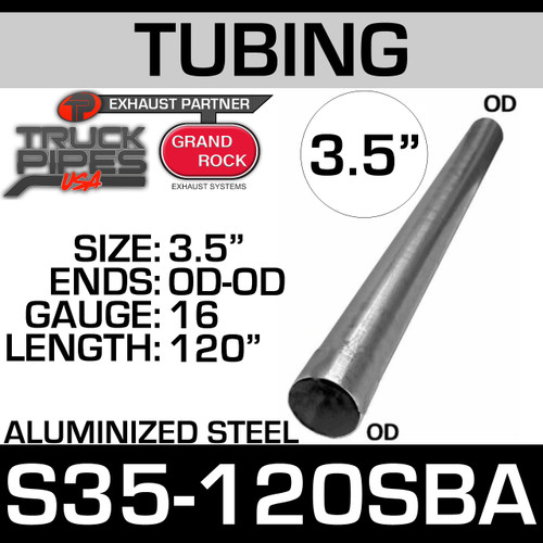 "3.5"" x 120"" Straight Cut Aluminized Exhaust Tube OD Ends S35-120SBA"