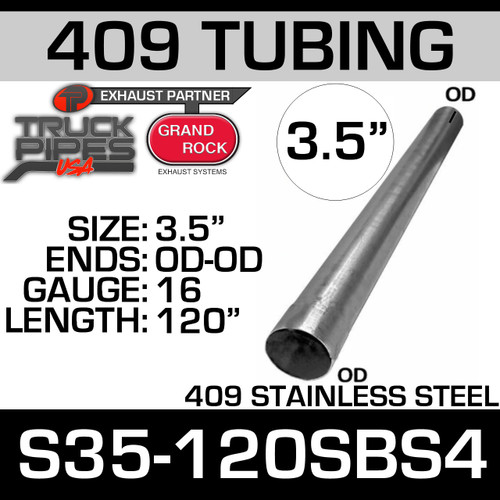 "3.5"" x 120"" Straight Cut 409 Aluminized Stainless Steel Tube S35-120SBS4"