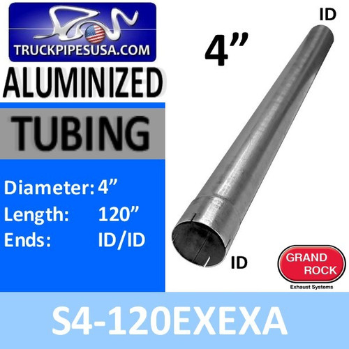 "S4-120EXEXA 4"" X 120"" Straight Cut Aluminized Exhaust Stack ID Ends"