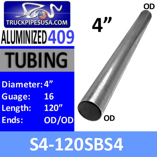 """S4-120SBS4 4"""" x 120"""" Straight Cut 409 Stainless Steel 16 Gauge S4-120SBS4"""