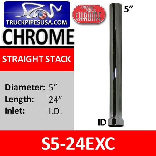 S5-24EXC | 5 inch x 24 inch Straight Cut Chrome Exhaust Stack ID End