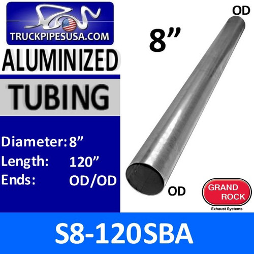 "S8-120SBA 8"" x 120"" 14ga Straight Aluminized Exhaust Tubing OD-OD"