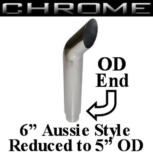 "SA6-60SBC-5 6"" x 60"" Aussie Chrome Exhaust Stack Reduced to 5"" OD"
