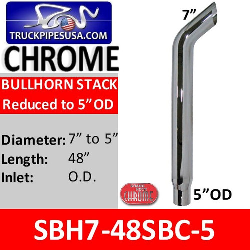"SBH7-48SBC5 7"" x 48"" Bullhorn Reduced to 5"" OD Chrome"