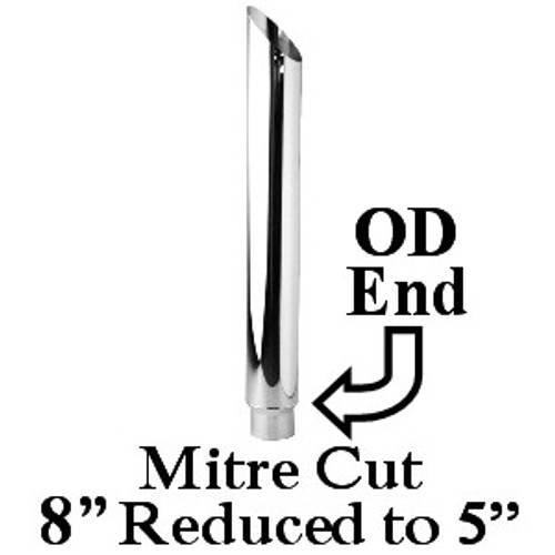 """SP8-60SBC-5 8"""" x 60"""" Miter Cut Chrome Exhaust Stack Reduced to 5"""" OD"""
