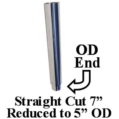 "SS7-60SBC-5 7"" x 60"" Chrome Straight Cut Exhaust 5"" OD Bottom"