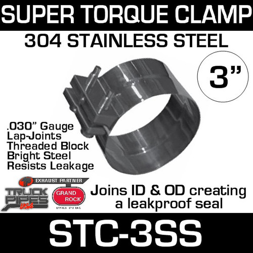 "3"" Super Torque Exhaust Clamp 304 Bright Stainless Steel STC-3SS"