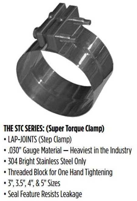 "STC-35SS 3.5"" Super Torque Exhaust Clamp 304 Stainless Steel"