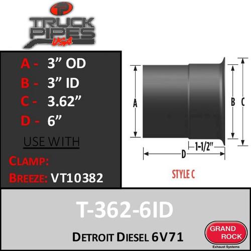 "T362-6ID Turbo 3""OD Detroit Diesel 6V71 Turbo Style C"