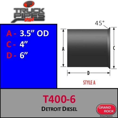 """T400-6 Turbo 3.5 OD x 3.5 ID x 6"""" Detroit Diesel Style A"""