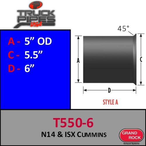 """T-550-6 Turbo 5"""" OD N14 ISX Cummins Style A"""