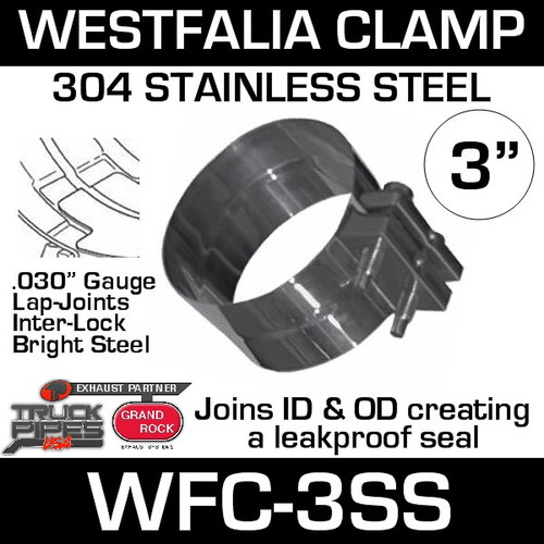 """WFC-3SS 3"""" Westfalia 304 Stainless Steel Exhaust Band Clamp"""