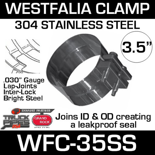 """WFC-35SS 3.5"""" Westfalia 304 Stainless Steel Exhaust Band Clamp"""