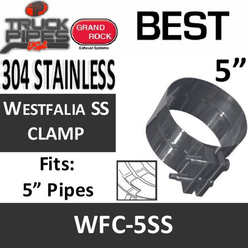 """5"""" Westfalia 304 Stainless Steel Exhaust Band Clamp WFC-5SS"""