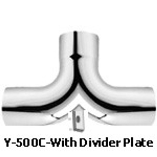 """Y-500C 5'' Chrome Y-Pipe Exhaust with Plate 14"""" x 25"""""""