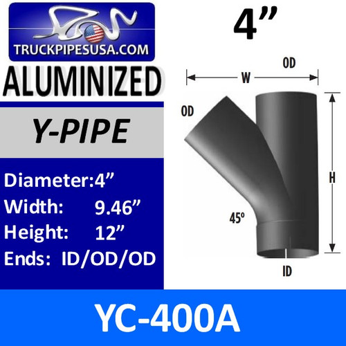 "YC-400A 4"" Type C Y-Pipe Aluminized Exhaust Pipe 9.46"" x 12"" YC-400A"