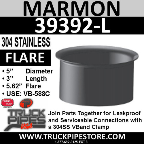 "5"" Marmon Exhaust with 5.6"" Flare 304 Stainless Steel 39392-L"