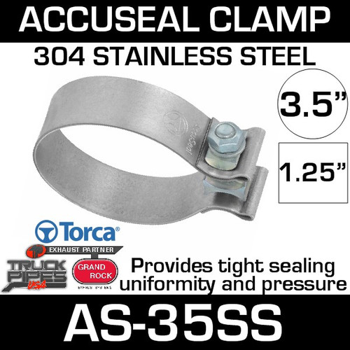 "3.5"" Stainless Steel AccuSeal Exhaust Band Clamp AS-35SS"