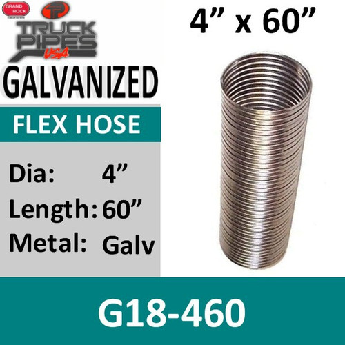 "4"" x 60"" .018 Galvanized Exhaust Flex Hose G18-460"